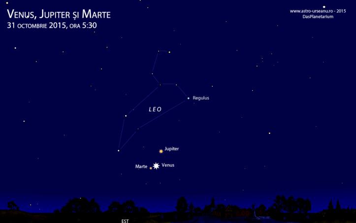 Trei planete în dimineața de 31 octombrie, ora 5:30