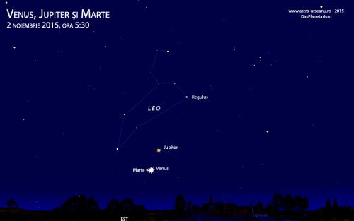 Trei planete în dimineața de 2 noiembrie, ora 5:30