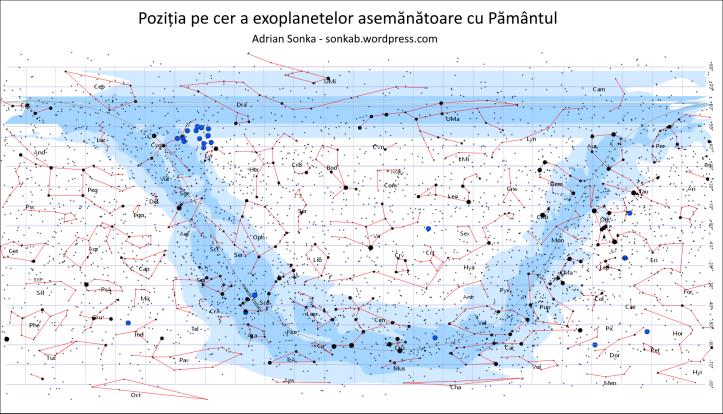 Poziția pe cer a exoplanetelor asemănătoare cu Pământul, descoperite până pe 24 noiembrie 2015. Ilustrație: Adrian Sonka