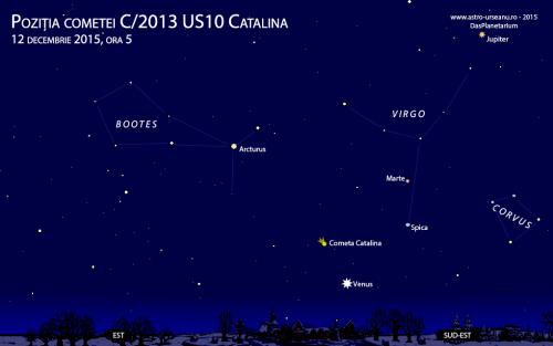 Partea de răsărit a cerului pe 12 decembrie, ora 5 dimineața