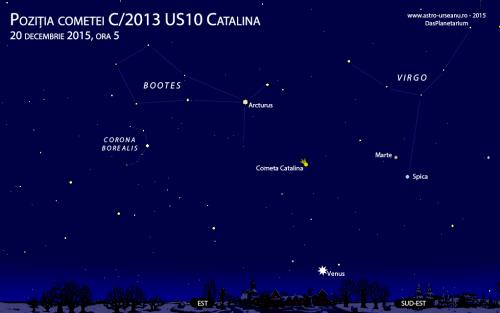 Partea de răsărit a cerului pe 20 decembrie, ora 5 dimineața