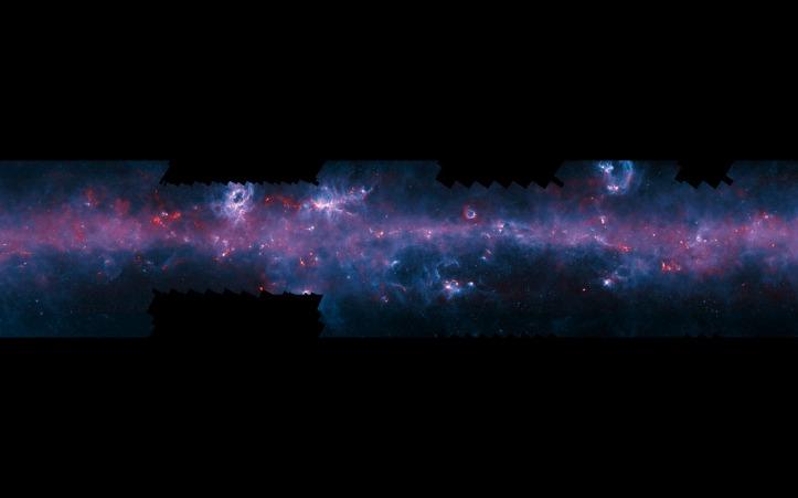 Planul galactic (Calea Lactee) în lumina emisă de gazul interstelar rece. Foto: ESO/APEX/ATLASGAL consortium/NASA/GLIMPSE consortium/ESA/Planck