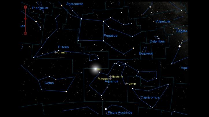 Poziția planetelor pe 11 martie 2016, la ora 00:10