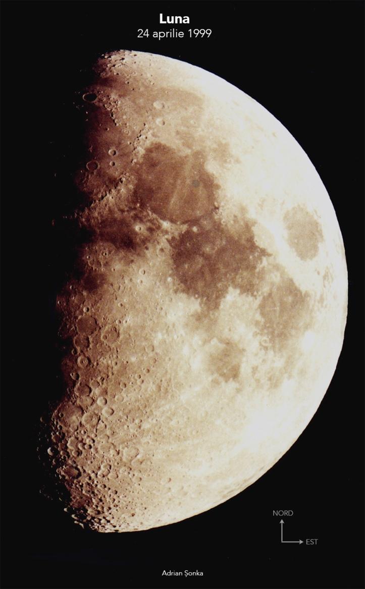 Luna fotografiată în aprilie 1999, printr-un telescop pe care nu mi-l mai amintesc și cu un aparat foto la fel de străin. Foto: Adrian Șonka