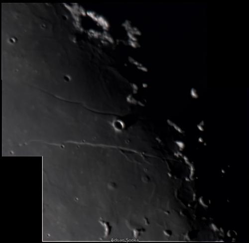 Domurile vulcanice din preajma craterului Cauchy la apus. Imagine luată pe 20 decembrie 2015. Prin telescop C9.25, f/10, cameră Philips Vesta Pro. Foto: Adrian Șonka