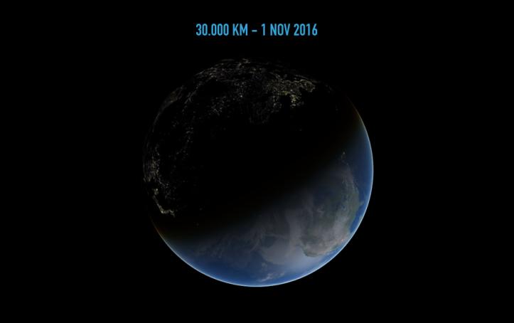 Pământul de la 30.000 de km depărtare. Ilustrație: Adrian Șonka