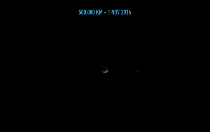 Pământul de la 500.000 de km depărtare. Ilustrație: Adrian Șonka