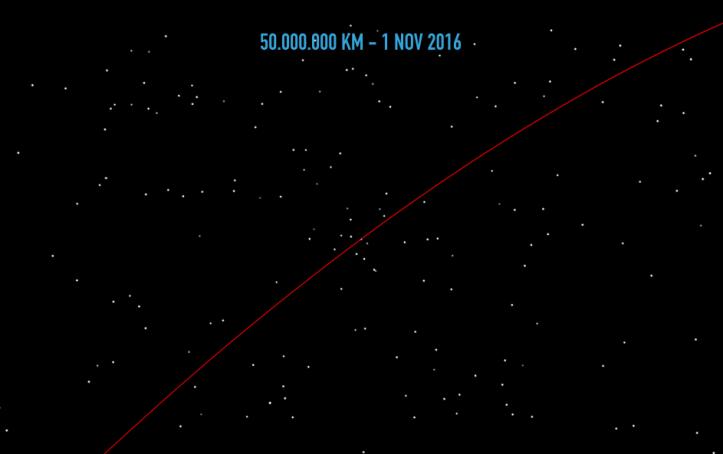 Pământul de la 50.000.000 de km depărtare. Ilustrație: Adrian Șonka