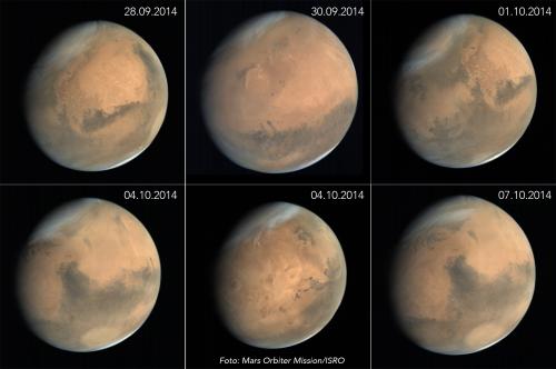 Marte fotografiat de sonda spațială indiană, Mars Orbiter Mission. Foto: ISRO