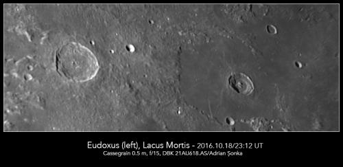 Craterul Eudoxus și regiunea Lacus Mortis. Foto: Adrian Șonka