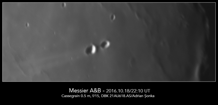 Craterele Messier A și B. Foto: Adrian Șonka