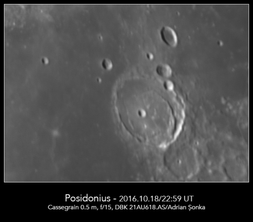 Craterul Posidonius. Foto: Adrian Șonka