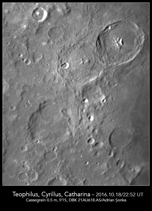 Craterele Teophilus, Cyrillus și Catharina. Foto: Adrian Șonka