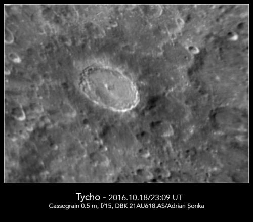 Craterul Tycho. Foto: Adrian Șonka