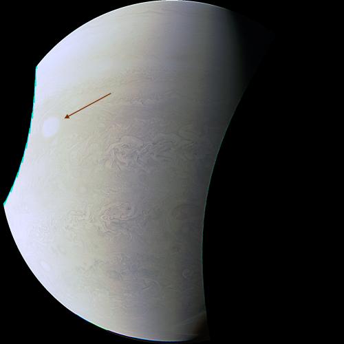 Imagine luată de sonda Juno pe 11 decembrie 2016, ora 19:26 TLR. Sonda se află la Jupiter. Foto: NASA / SwRI / MSSS