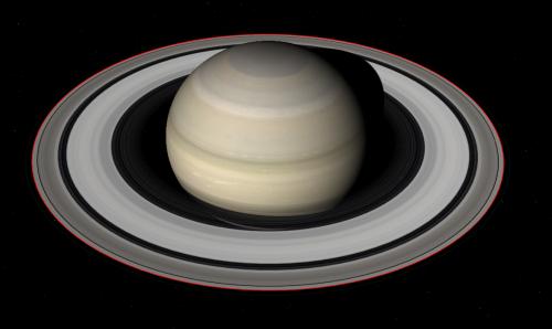 Saturn și inelul său. Cu roșu este trecută orbita satelitului Daphnis. Ilustrație: Celestia