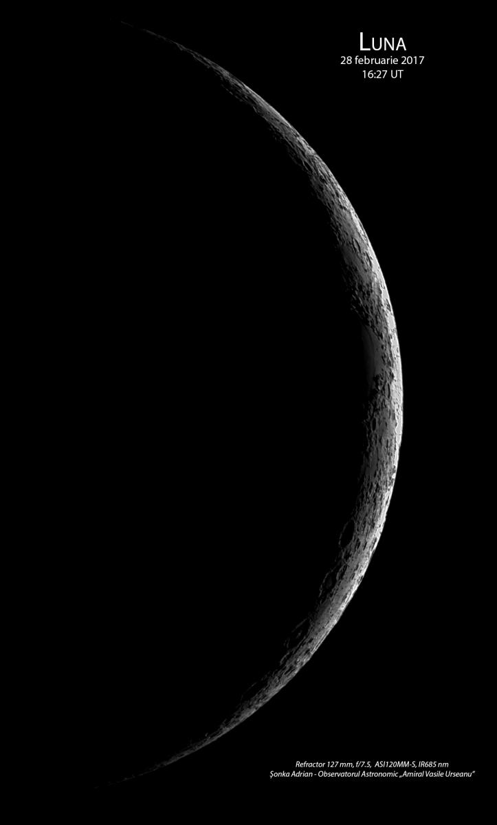 Luna în dupamiaza de 28 februarie 2017. Foto: Adrian Șonka