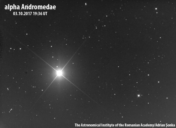 Alpha Andromedae. Imagine: Institutul Astronomic al Academiei Române/Adrian Șonka