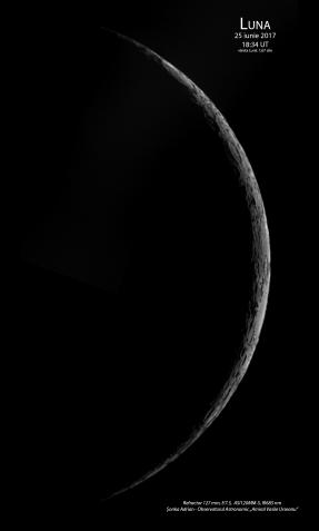 Luna pe 25 iunie 2017, la 1,67 zile după faza de Lună Nouă. Foto: Sonka Adrian