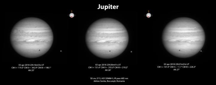 Jupiter în noaptea de 3 spre 4 aprilie 2018. Pe disc se vede umbra satelitului Europa. Satelitul se vede la stânga planetei. Foto: Adrian Șonka