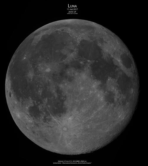 Luna pe 11 mai 2017. Foto: Adrian Șonka
