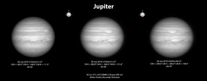 Jupiter în noaptea de 4 spre 5 mai 2018. Foto: Adrian Șonka