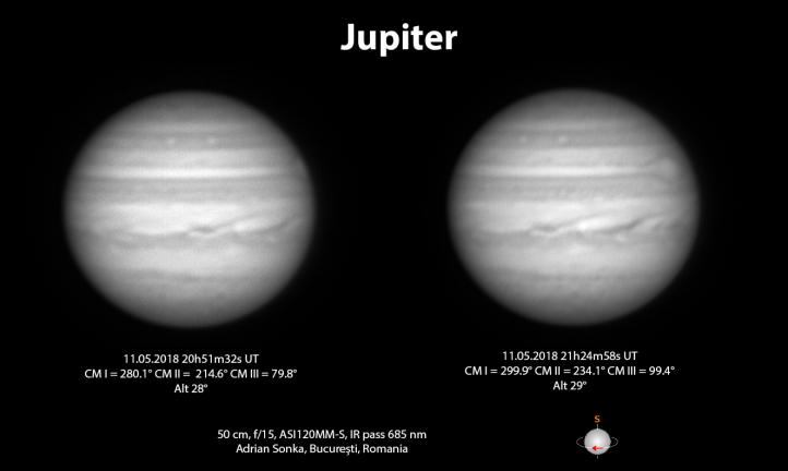 Jupiter în noaptea de 11 spre 12 mai 2018