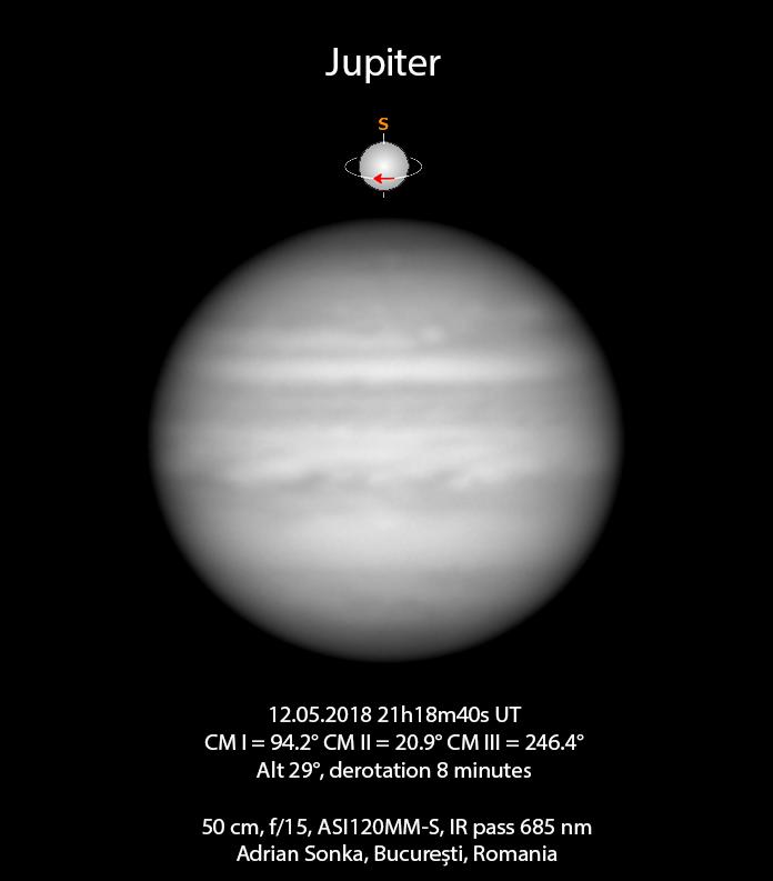 Jupiter în noaptea de 12 spre 13 mai 2018