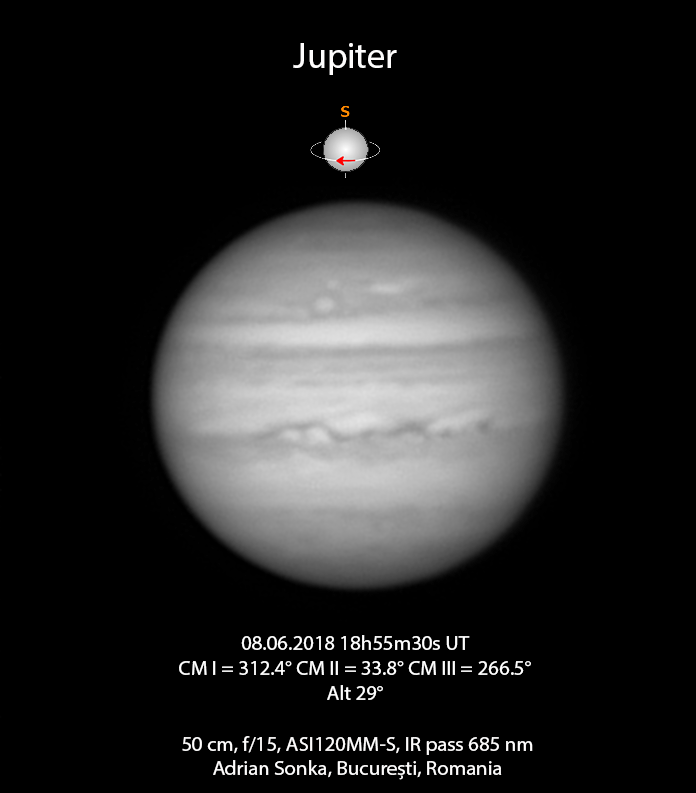 Jupiter pe 8 iunie 2018