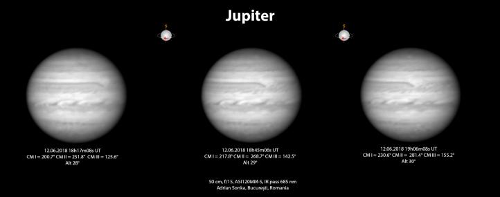Jupiter în seara de 12 iunie 2018