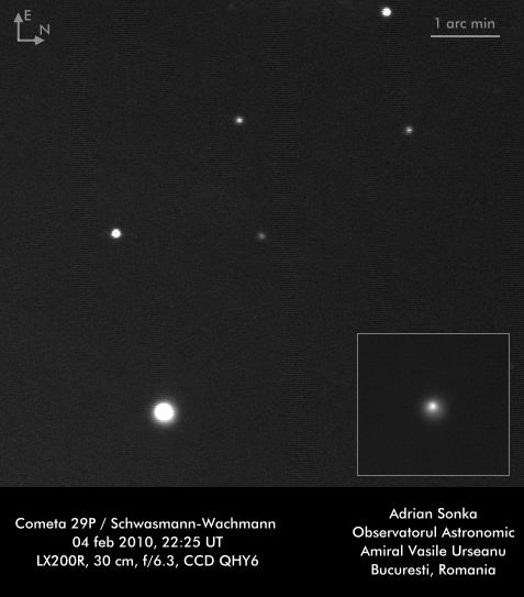 Cometa 29P în februarie 2010