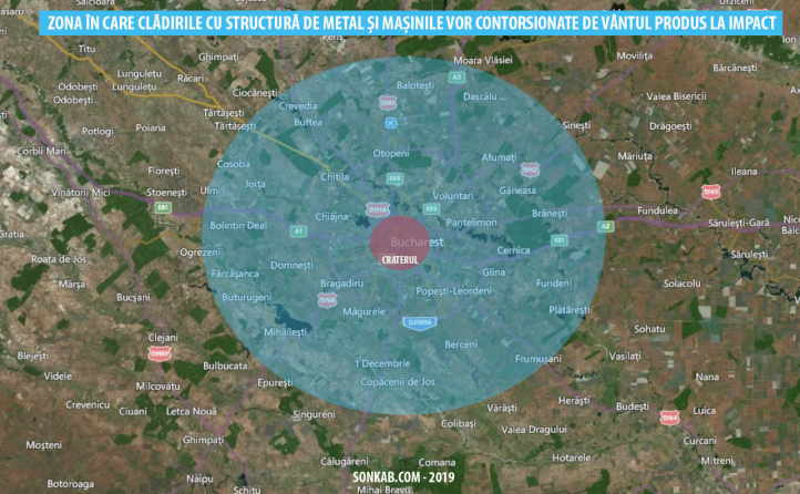 Cercul verde reprezintă zona în care vântul ar fi atât de puternic încât ar contorsiona mașinile și ar dezafecta clădirile cu structură de metal