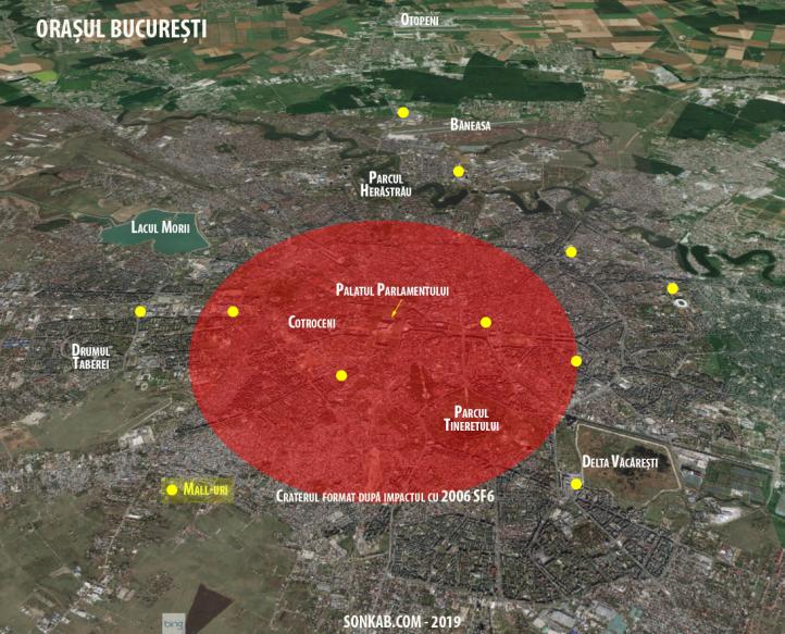 Cercul roșu reprezintă craterul care s-ar forma la impactul cu un asteroid de 450 m în diametru