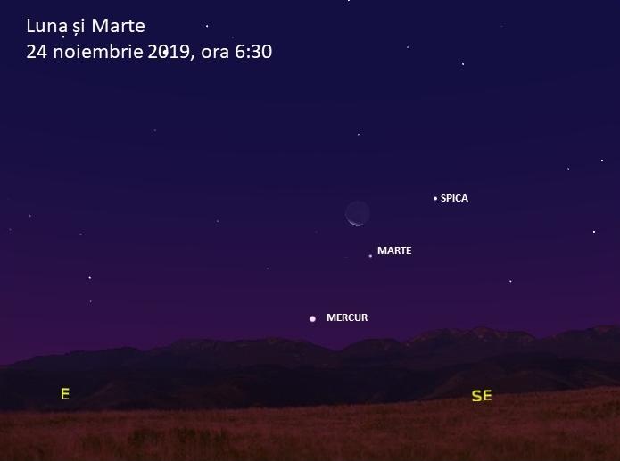 Luna și Marte pe 24 noiembrie dimineața