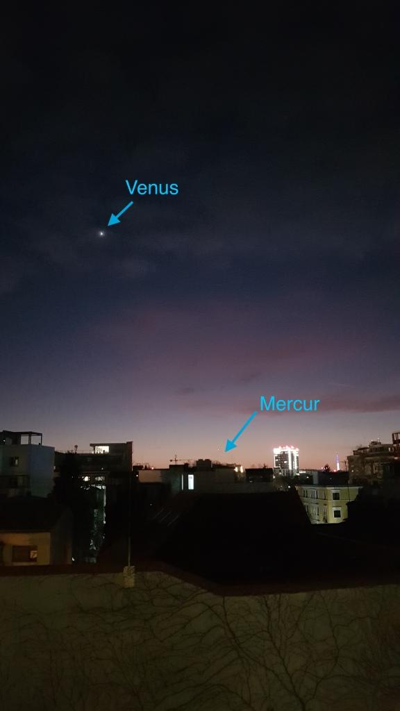 Orizontul de sud-vest în seara de 1 februarie, ora 18:22. București