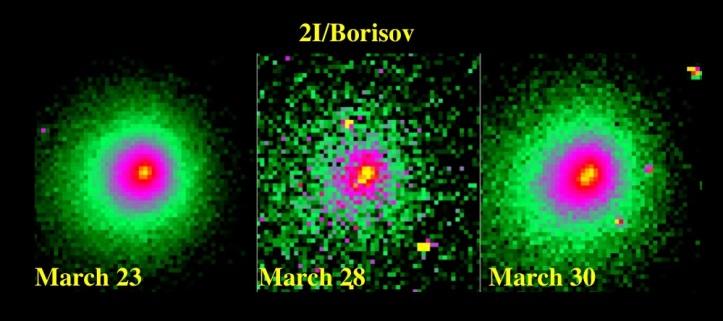 Cometa 2I/Borisov și fragmentarea ei. Foto: http://www.astronomerstelegram.org/?read=13611