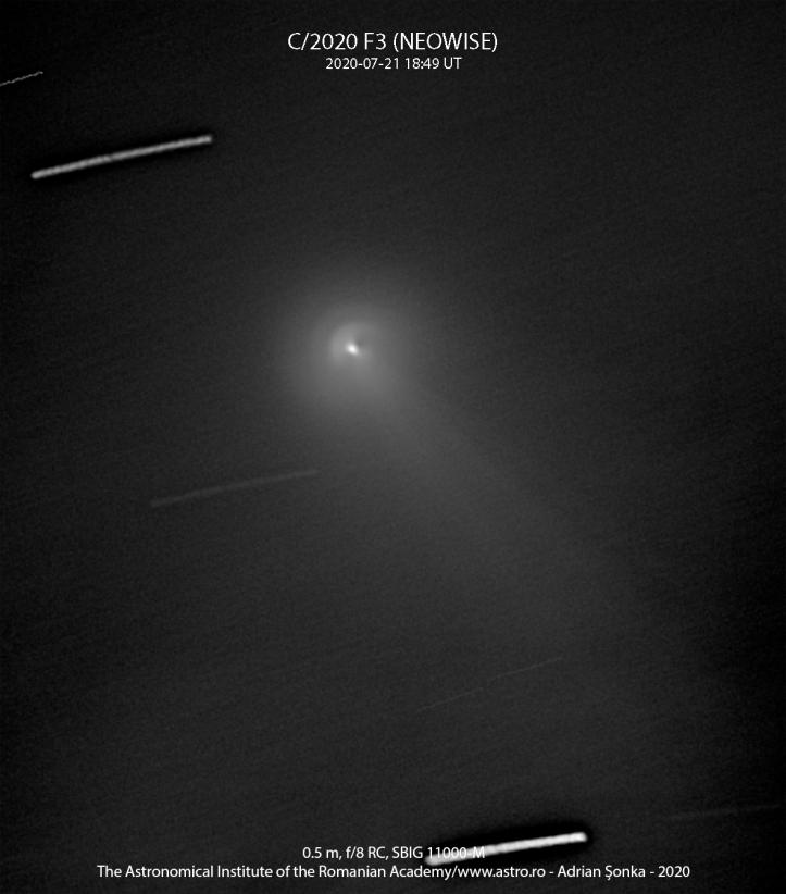 Partea centrală a cometei prin telescop de 0,5 m în diametru