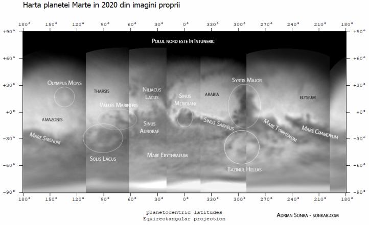 Harta planetei Marte - 2020