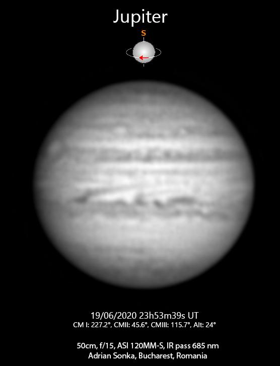Jupiter pe 19 iunie 2020, ora 23:53 UT