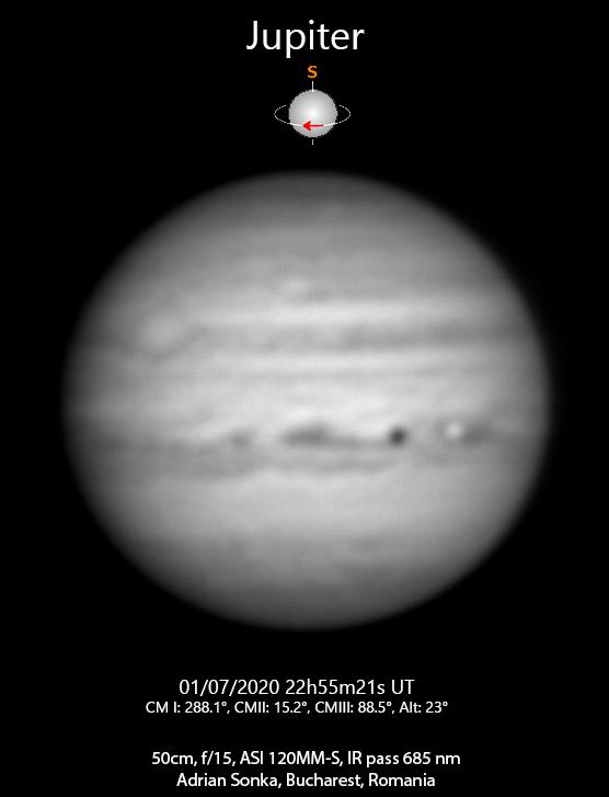 Jupiter în noaptea de 1 spre 2 iulie 2020
