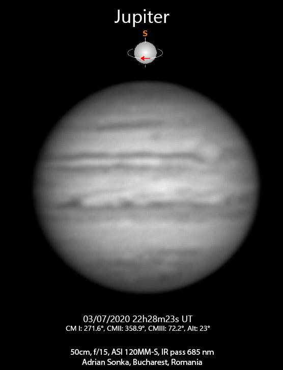 Jupiter în seara de 3 spre 4 iulie 2020