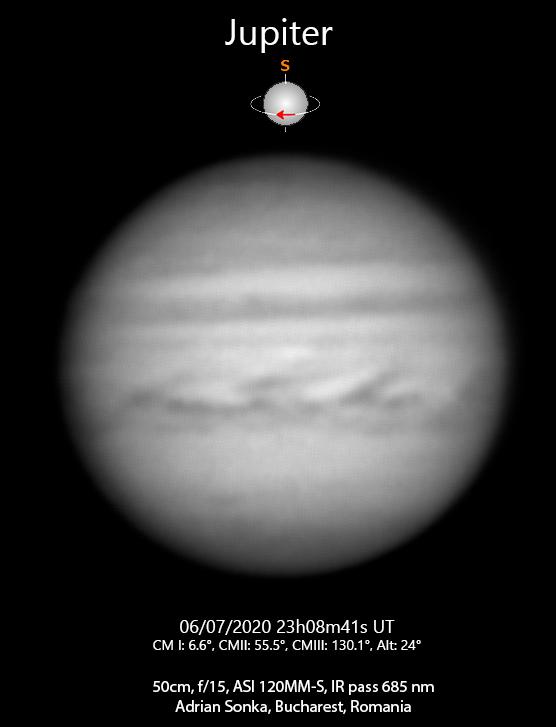 Jupiter pe 6 iulie 2020, ora 23:08 UT