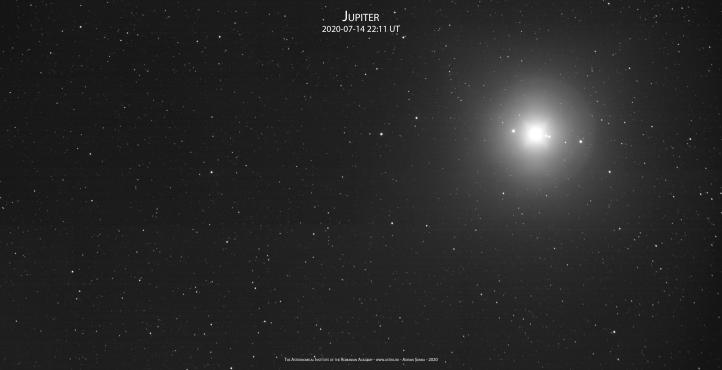 Jupiter printre stele în noaptea de 14 spre 15 iulie 2020