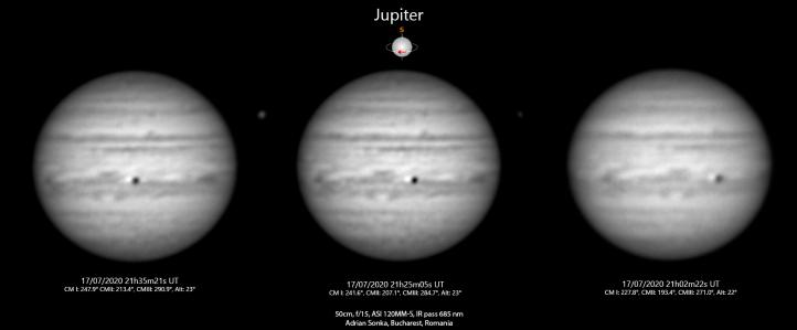 Jupiter în noaptea de 17 spre 18 iulie 2020
