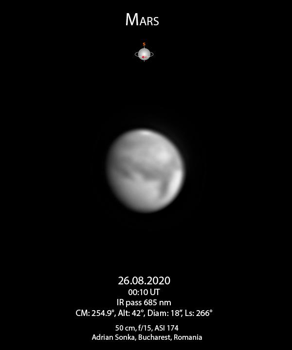 Marte în noaptea de 26 august 2020
