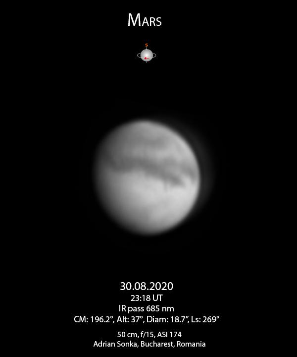 Marte în noaptea de 30 august 2020