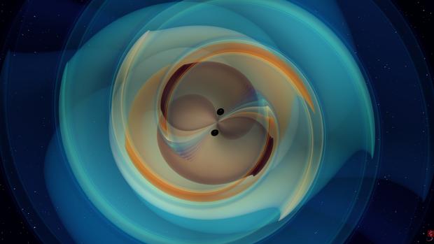 Imagine frumoasă și colorată care arată cum nu s-ar vedea coliziunea dintre două găuri negre. Imagine: N. Fischer, H. Pfeiffer, A. Buonanno (Max Planck Institute for Gravitational Physics), Simulating eXtreme Spacetimes (SXS) Collaboration